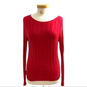 August Silk 100% Silk Red Ribbed Pullover Sweater